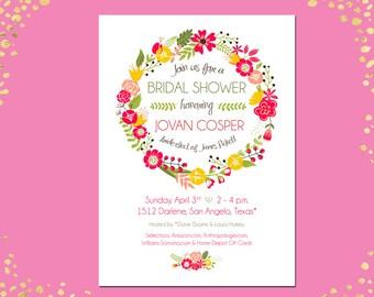 Qty. 25+ Bridal Shower Invitation Floral Bridal Shower Invitation Spring Summer Bridal Shower Invitation