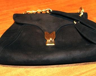 Vintage Black Velveteen Purse