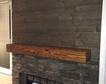 "Fireplace Mantle 60"" Long x 5.5"" Tall x 9"" Deep-Wooden Mantel-Fireplace Decor-Rugged Wood Mantel-Floating shelf-Wood Wall Shelf-Mantle  Beam"