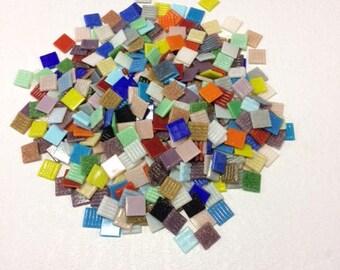 Large pack 2 kg./630 pcs. Rainbow Multicolor Vitreous Glass mosaic tiles 20*20 mm mix - 45 colors for Craft and Art Decoration