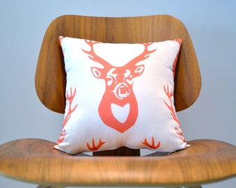 "Deer Antler Pillow in Eco Cotton 14""- Deer Pillow- Decorative Throw Pillow in Orange and White- Rustic Decor"