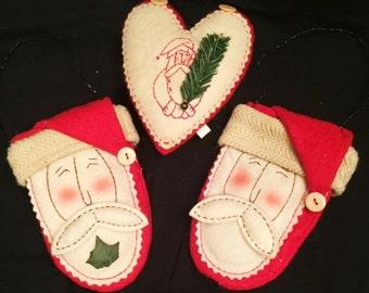 Christmas - 3 stuffed fabric ornaments