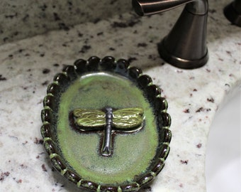 Dragonfly Dish - Soap Dish - Jewelry Dish  - Ceramic Soap Dish - Soap Saver - Soap Holder - Soap Tray - Trinket Dish - Mother's Day