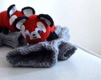 Cute REd panda  gloves, panda gloves, fingerless gloves , gift, birthday, boy, girl , original design , hand puppet   , Animal costume