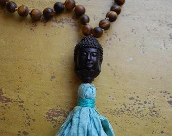 Tiger eye hand knotted buddha necklace pendant silk sari tassel mala