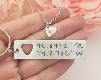 Boyfriend Gift, Couples Jewelry Set, GPS Coordinate Keychain with cut out heart necklace, Anniversary Gift for him and her