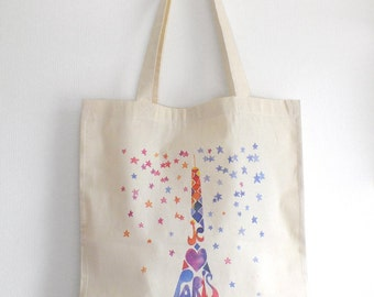 Eiffel Tower watercolor tote bag, Paris France cotton bag, Organic cotton bag, Illustrated tote, Cute tote, Shopping tote, Paris decor