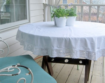 Vintage Small Round Tablecloth, Needlework, Table Topper, Antique Tablecloth, White on White, Embroidered,  by mailordervintage on etsy