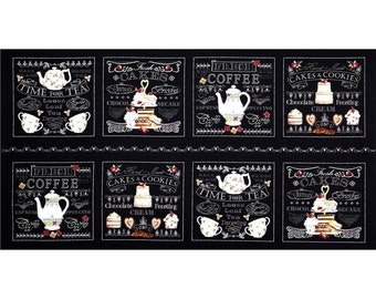 """Afternoon Delight from Quilting Treasures - 24"""" Panel Time for Tea, Cakes and Cookies Chalkboard Menu Boards"""
