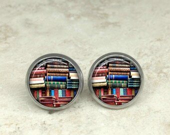 Glass dome book earrings, book earrings, bookshelf earrings, book posts, book stud earrings HG152E
