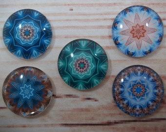 Mandala Fridge Magnets, Glass Kitchen Magnets, Set of 5, Kitchen Decor, Hostess Gift, Housewarming Gift, Office Decor, Locker Magnet