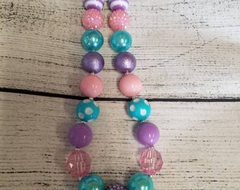 Aqua blue, lavender, and pink chunky necklace