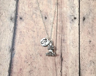 Frog prince initial necklace - frog prince jewelry, fairy tale necklace, princess necklace, fairy tale jewelry, silver frog prince pendant