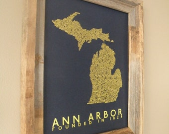 History of Ann Arbor Word Map (Maize & Blue) - Unframed