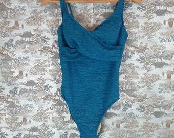 Vintage 80s blue one piece swimsuit - bathing suit - malliot- retro