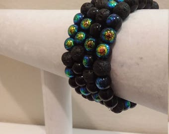 Glass and Lava Rock Aromatherapy Diffuser Bracelet - Black & Rainbow