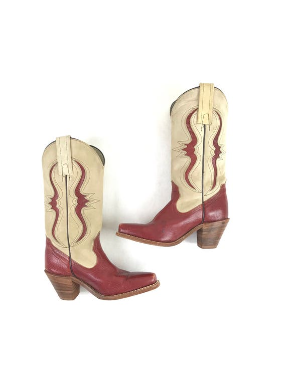 vintage western toned cowboy western women's boots 1990s size print two 90s boots cowboy FRYE snakeskin boots leather 5B boots boots 8r08wA