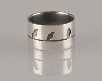Birds on a wire Silver Ring, Size 7.5 Ring, Love Birds Jewelry, Unique Handmade Ring, Women Ring, Silver Birds Ring, Gift for Her