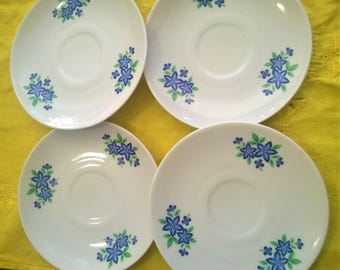 Vintage Winterling Marktleuthen Bavarian saucers small blue flowers- set of 4