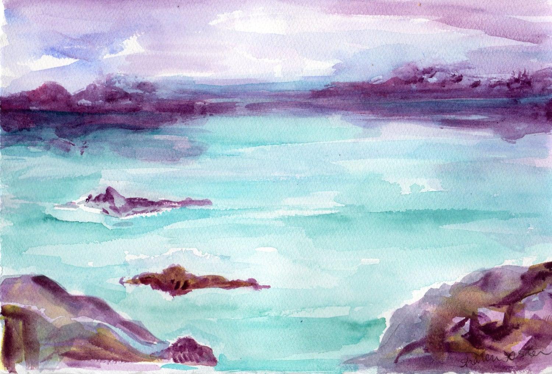 Favorito Seascape acquerelli dipinti opere d'arte originali di FU23
