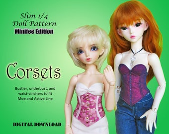 Bustier Underbust waist cincher corset doll clothes sewing pattern for Slim 1/4 MSD BJD: Minifee