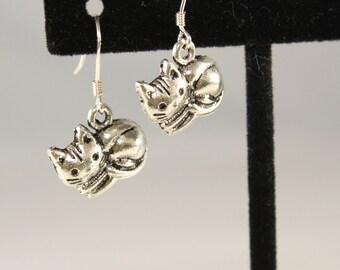 Silver Cat Earrings - Cat Earrings - Cat Charm Earrings - Cat Jewelry - Silver Kitten Earrings - Cat Charm - Silver Cat Charm Kitty Earrings