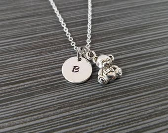 Silver Teddy Bear Necklace - Teddy Bear Charm Necklace - Personalized Necklace - Custom Gift - Initial Necklace - Teddy Bear Jewelry