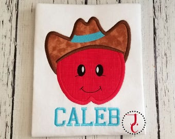 Cowboy Apple Shirt, Back To School Shirt, School Dress, Apple Birthday, Apple Party, School Clothes, Monogram Shirt, Supplies, For Kids