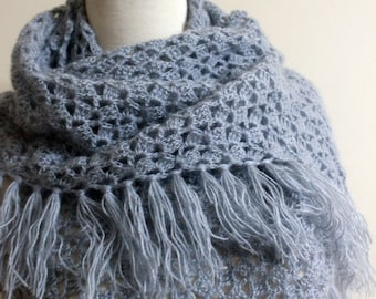 Winter Shawl Winter Accessories Birdal Shawl Shawl Grey Shawl Crochet Shawl Crochet Scarf Triangle Wrap