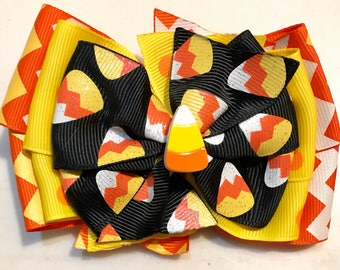 Orange Yellow and Black Chevron HALLOWEEN Glitter Fall Candy Corn Boutique Style Ribbon Bow Handmade for PETS Dog Collar Accessory