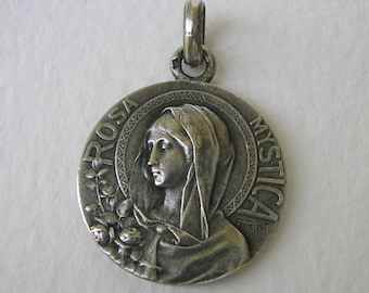 Rosa Mystica Mary Sterling Silver Medal signed Rivet/ Coudray - Antique French Religious Pendant