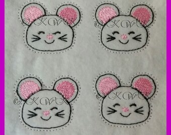 In The Hoop, Mouse feltie digital machine embroidery design, mouse clippie, mouse bow centre, Zipper Pull, Single and multi