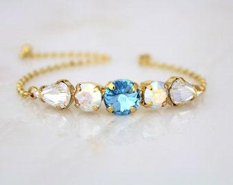 Gold Bangle bracelet, Bridal bracelet, Bridal jewelry, Swarovski crystal bracelet, Crystal bangle bracelet, Simple Wedding bracelet