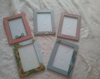 Decorated wooden picture frame
