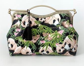 10.7'' Clutch Bag, Handbag, Kisslock - Panda