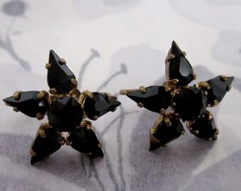 vintage prong set rhinestone black jet star flower screw back earrings signed Germany hallmark - j5649