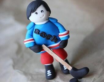 Hockey Fondant Cake Topper - Hockey Player Fondant Cake Topper - Sports Cake Topper - Sports Fondant Topper