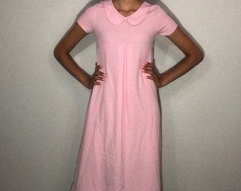 1980s pink gingham dress