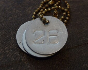 Number 26 TAG, vintage tag, aluminum number tag, sheep, cow, livestock tag