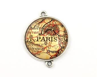 1 Paris map connector,glass and silver tone,35mm #CON 278
