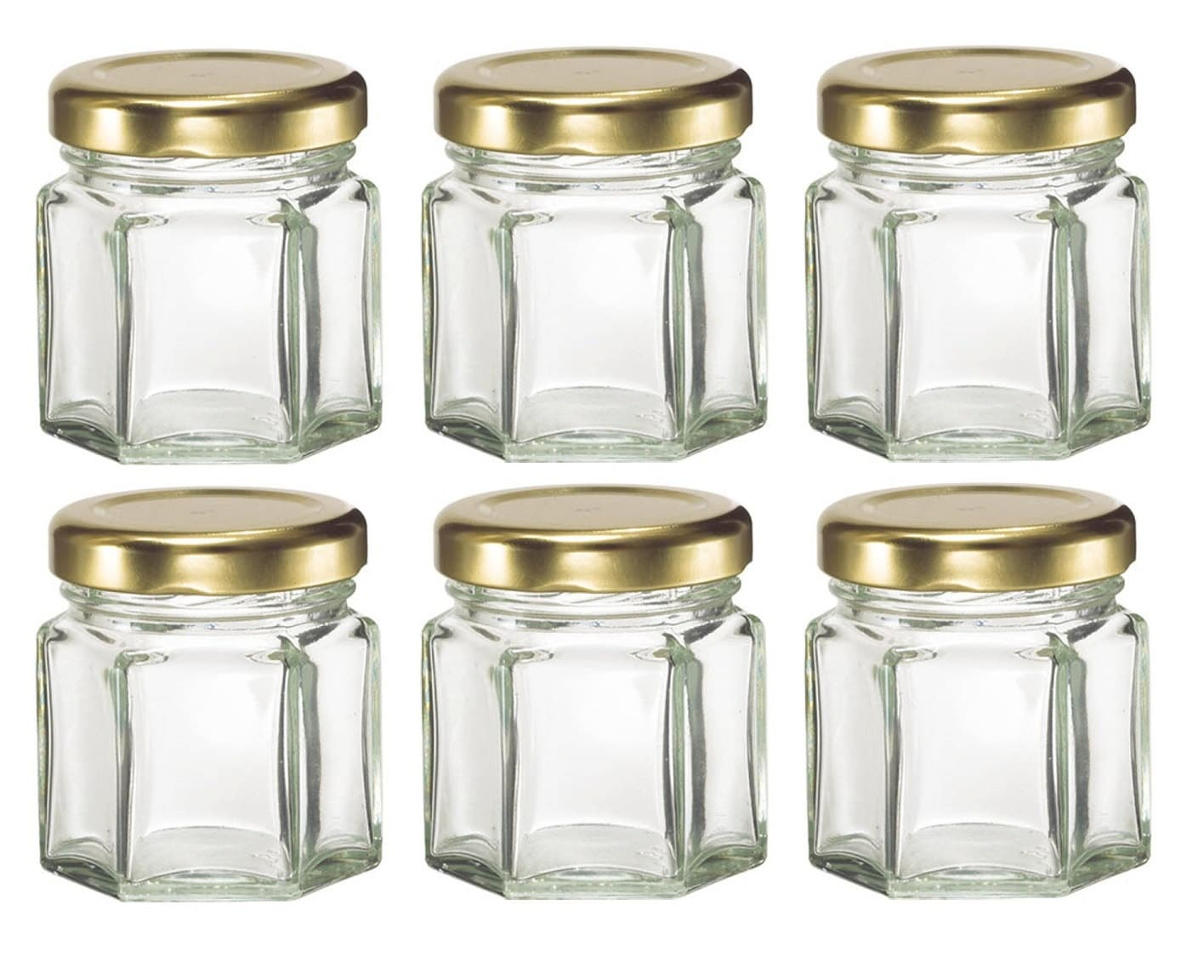 1.5 oz Mini Hexagon Glass Favor Jars for DIY Wedding jam