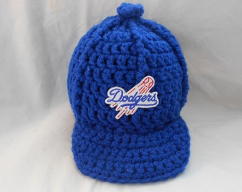 Los Angeles Dodgers Inspired Crochet Baby Hat Baseball Newsboy Cap Hat with Embroidered Logo- Newborn, 0-3 Months, 3-6 Months, 6-12 Months