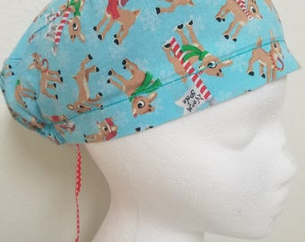 North Pole Rudolf The Red Nose Reindeer Surgical Cap / Skull Cap / Scrub Hat
