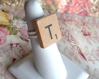 Scrabble Tile Ring .. Choose any letter .. new or vintage tiles .. game piece .. adjustable band .. Nostalgic .. Kids Birthday Party Favor