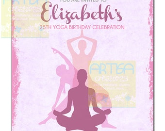 Yoga Invitation, Yoga Party Invitation, Yoga Birthday Invitation, Yoga Session Invitation, Namaste Invitation, Yoga Baby Shower Invitation