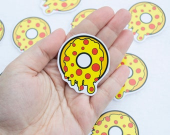 Pizza Donut Sticker Kawaii Cute Food Stickers Stationery Pepperoni Sweets Sugar Dessert Lunch Dinner Culinary Cuisine Italian Summer Foods
