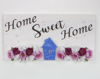 Home Sweet Home Welcome Sign Wood Sign Home Décor Wall Décor Entry Way Floral Décor Silk Flower Arrangement Flower Arrangement