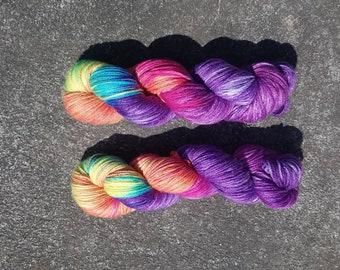 Hand Dyed DK yarn- Purple Rain-bow