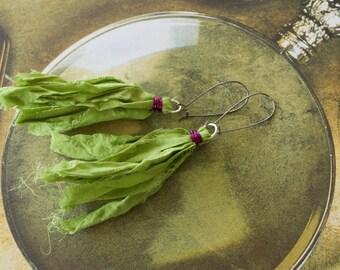 Green Chiffon Sari Silk Earrings with Amethyst Wire Wrap