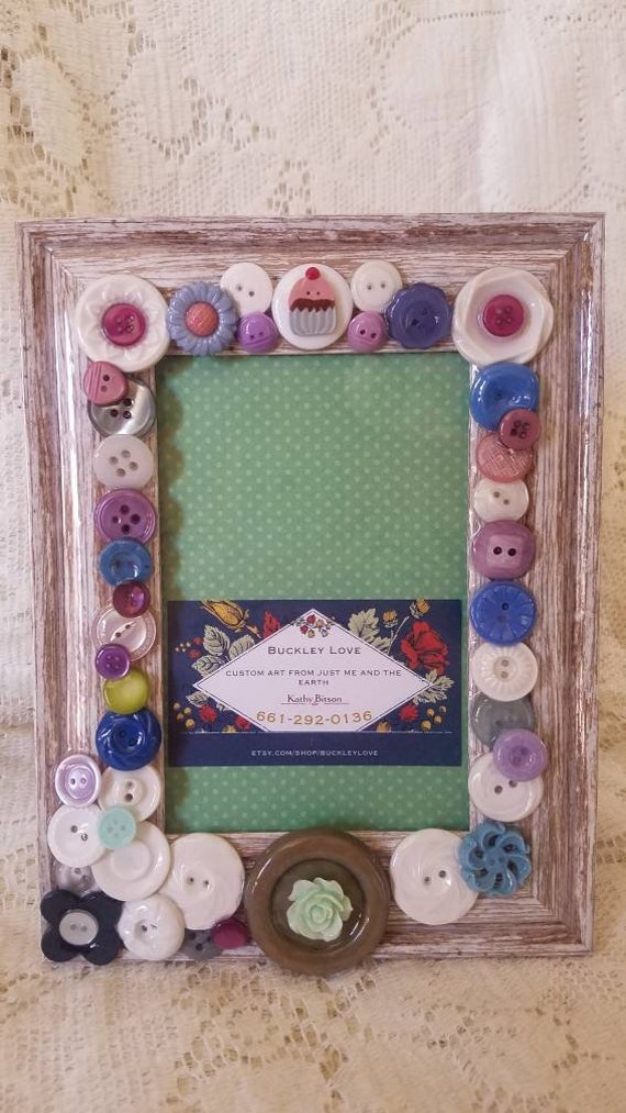 Decoupage frame with vintage buttons and cute cupcake accent
